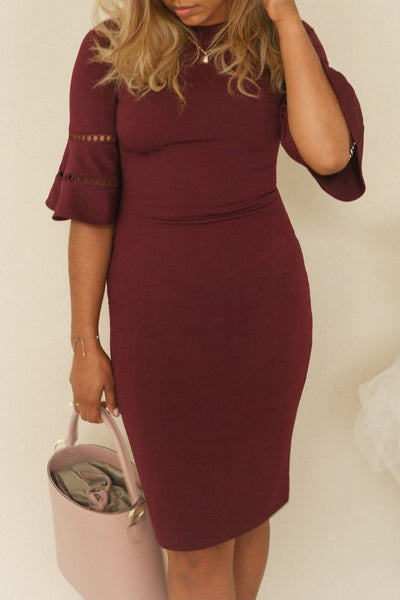 Filnio | Burgundy Fitted Dress