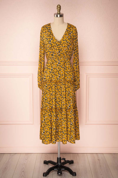 Flamands Yellow Floral Midi Dress with Long Sleeves | Boutique 1861  front view
