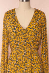 Flamands Yellow Floral Midi Dress with Long Sleeves | Boutique 1861 front close-up