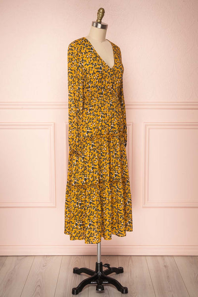 Flamands Yellow Floral Midi Dress with Long Sleeves | Boutique 1861 side view