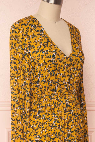 Flamands Yellow Floral Midi Dress with Long Sleeves | Boutique 1861  side close-up