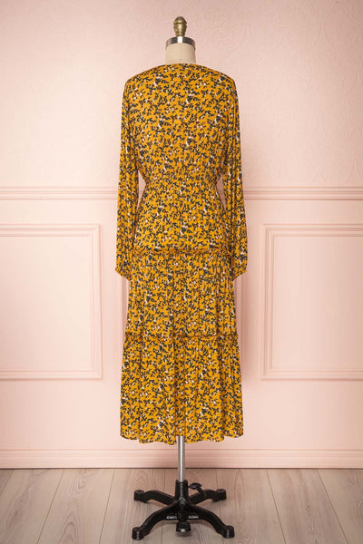 Flamands Yellow Floral Midi Dress with Long Sleeves | Boutique 1861 back view