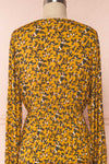 Flamands Yellow Floral Midi Dress with Long Sleeves | Boutique 1861 back close-up