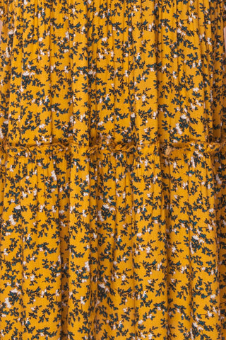 Flamands Yellow Floral Midi Dress with Long Sleeves | Boutique 1861 fabric detail