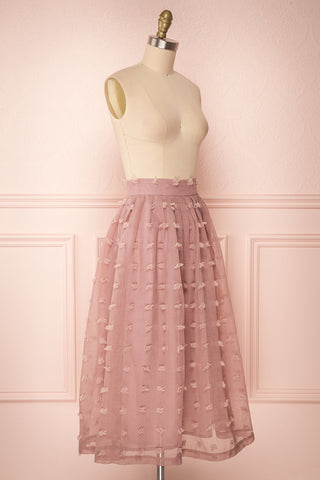 Flavie Rose Pink A-Line Skirt | Jupe Ligne A | Boutique 1861 side view