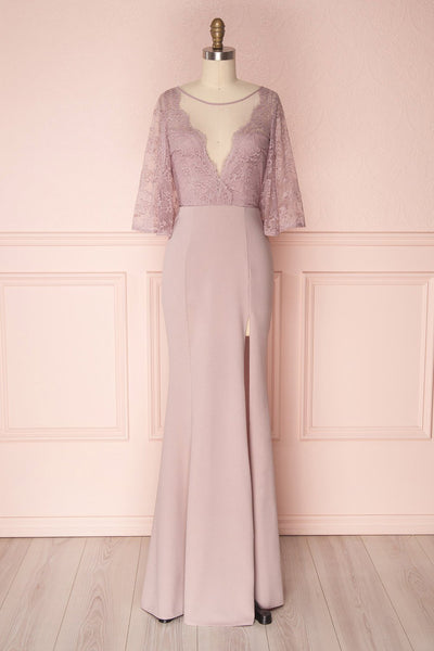 Flor Lilac Maxi Mermaid Lace & Crepe Dress | Boudoir 1861