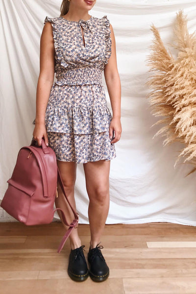 Florenza Short Pink Floral Ruffle Dress | Boutique 1861 model look