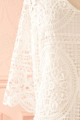 Floryne White Crocheted Lace Tunic Dress | Boudoir 1861