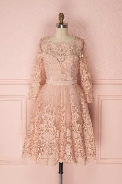 Fodla Blush Pink Embroidered A-Line Dress | Boutique 1861