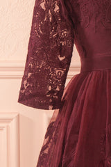 Fodla Burgundy Embroidered A-Line Dress | Boutique 1861