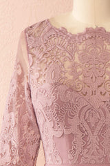 Fodla Mauve Embroidered A-Line Dress | Boutique 1861