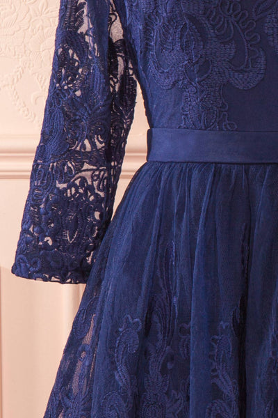 Fodla Navy Blue Embroidered A-Line Dress | Boutique 1861