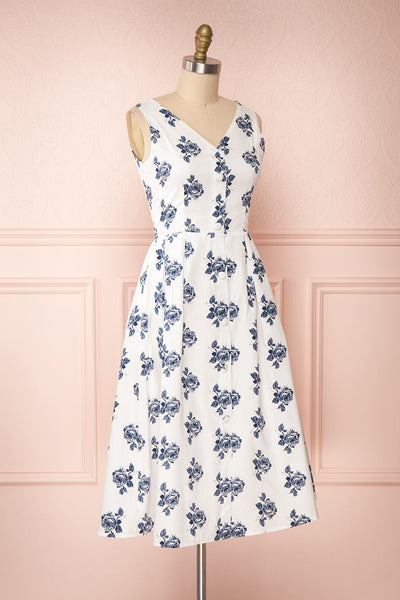 Folium White Midi Summer Dress w/ Flowers | Boutique 1861 side view