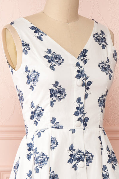 Folium White Midi Summer Dress w/ Flowers | Boutique 1861 side close-up