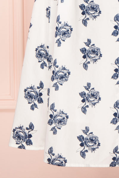 Folium White Midi Summer Dress w/ Flowers | Boutique 1861 bottom close-up