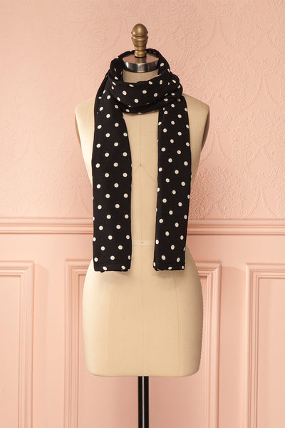 Fonte de glace - Long black scarf with white polka dots 1