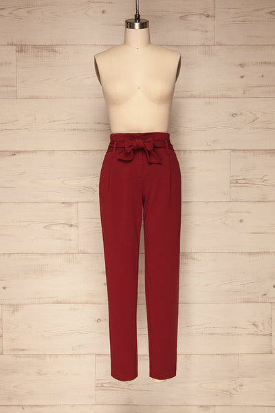 Forenza Burgundy High-Waisted Pleated Pants | La Petite Garçonne front view