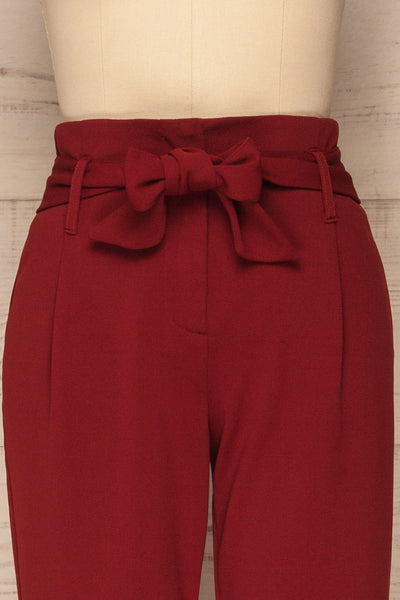 Forenza Burgundy High-Waisted Pleated Pants | La Petite Garçonne front close-up