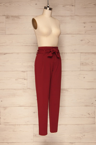 Forenza Burgundy High-Waisted Pleated Pants | La Petite Garçonne side view