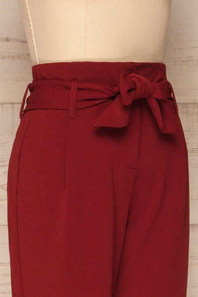 Forenza Burgundy High-Waisted Pleated Pants | La Petite Garçonne side close-up