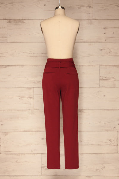 Forenza Burgundy High-Waisted Pleated Pants | La Petite Garçonne back view