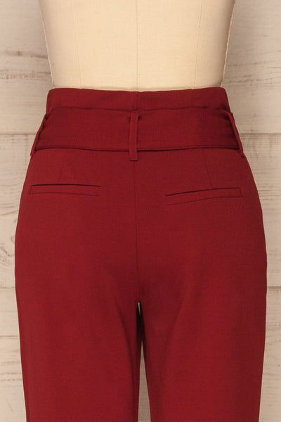 Forenza Burgundy High-Waisted Pleated Pants | La Petite Garçonne back close-up
