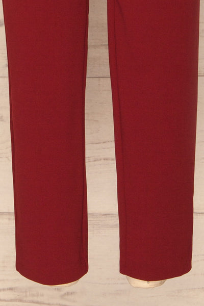 Forenza Burgundy High-Waisted Pleated Pants | La Petite Garçonne bottom close-up