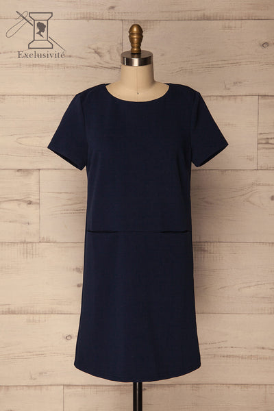 Foxham Navy Blue Ribbed Tunic Dress | La Petite Garçonne