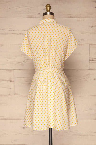 Frampol White Short Dress w/ Polka Dots | La petite garçonne back view