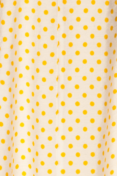Frampol White Short Dress w/ Polka Dots | La petite garçonne fabric