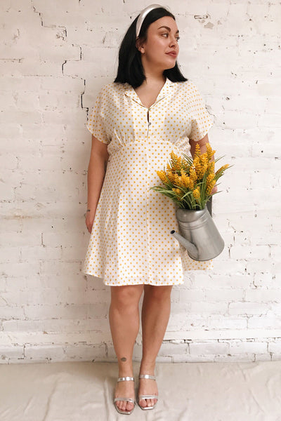Frampol White Short Dress w/ Polka Dots | La petite garçonne model look