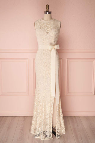 Francia Cream Lace Mermaid Gown front view | Boudoir 1861