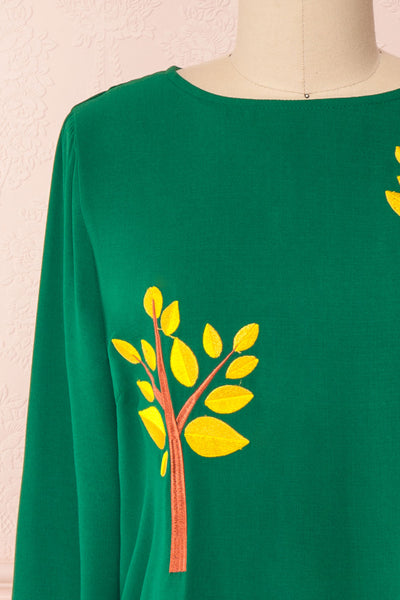 Freiberg Green Tunic Dress with Embroidered Trees | Boutique 1861 front close-up