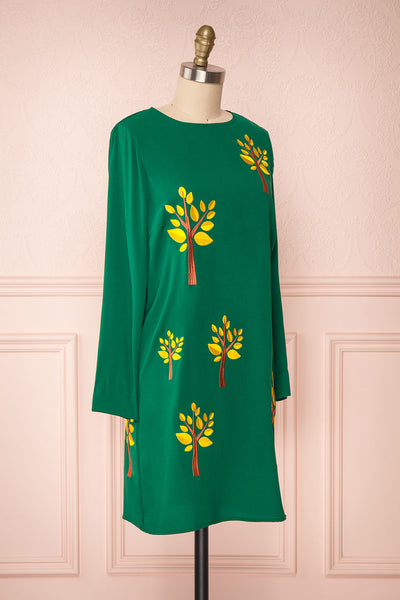 Freiberg Green Tunic Dress with Embroidered Trees | Boutique 1861 side view