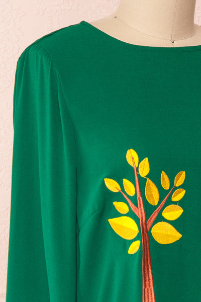 Freiberg Green Tunic Dress with Embroidered Trees | Boutique 1861 side close-up