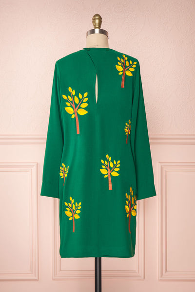 Freiberg Green Tunic Dress with Embroidered Trees | Boutique 1861 back view