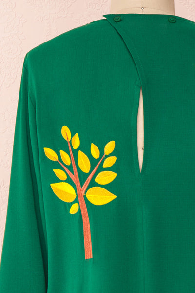 Freiberg Green Tunic Dress with Embroidered Trees | Boutique 1861 back close-up