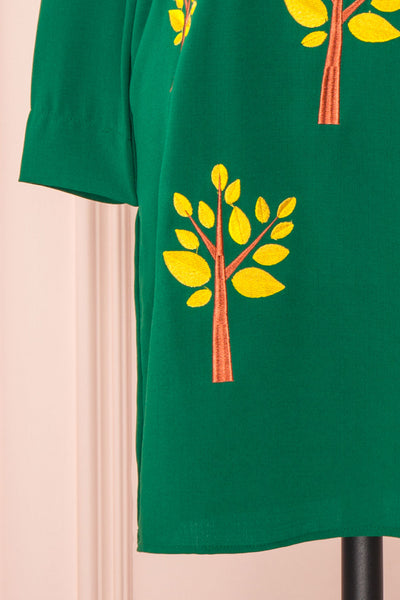Freiberg Green Tunic Dress with Embroidered Trees | Boutique 1861 bottom view