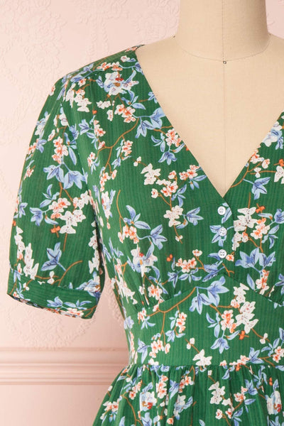 Frieda Green Floral Short Sleeve Midi Dress | Boutique 1861 front close-up