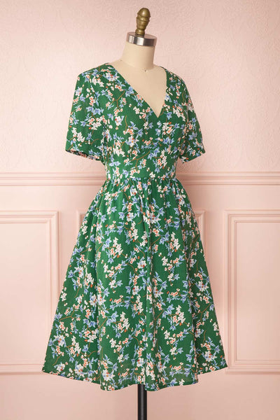 Frieda Green Floral Short Sleeve Midi Dress | Boutique 1861 side view