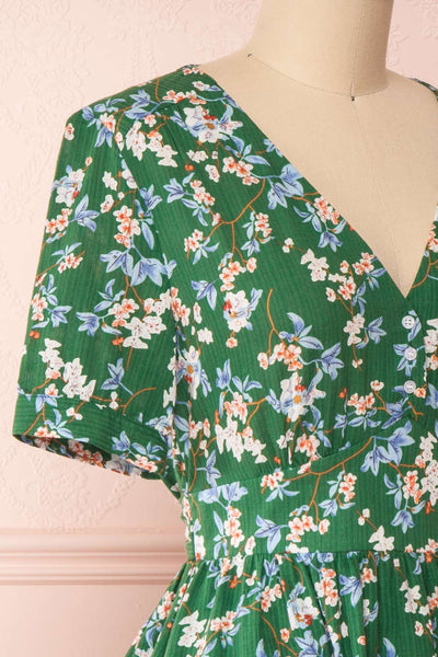 Frieda Green Floral Short Sleeve Midi Dress | Boutique 1861 side close-up