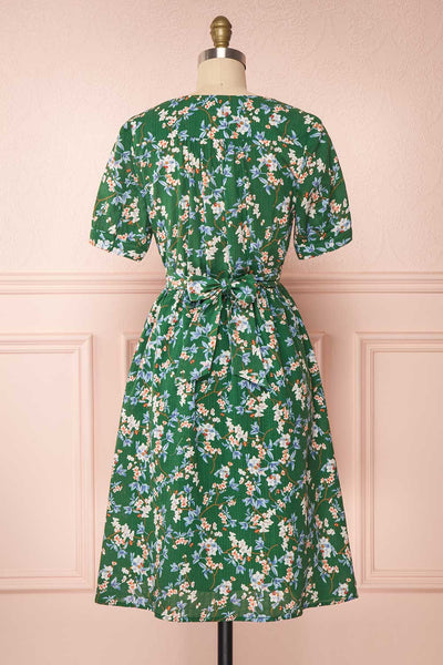 Frieda Green Floral Short Sleeve Midi Dress | Boutique 1861 back view
