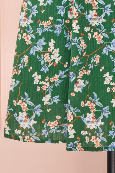 Frieda Green Floral Short Sleeve Midi Dress | Boutique 1861 bottom close-up
