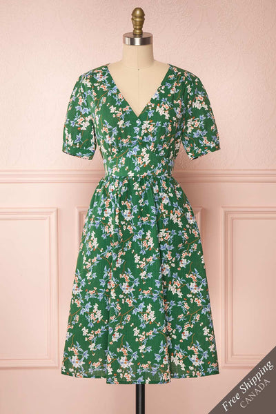 Frieda Green Floral Short Sleeve Midi Dress | Boutique 1861 front view