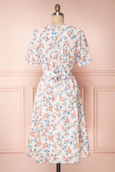 Frieda White Floral Short Sleeve Midi Dress | Boutique 1861 back view