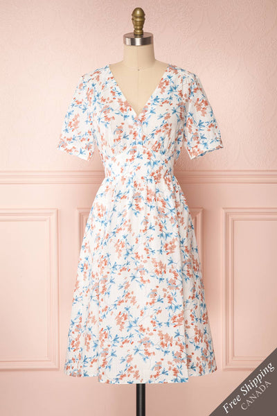 Frieda White Floral Short Sleeve Midi Dress | Boutique 1861 front view