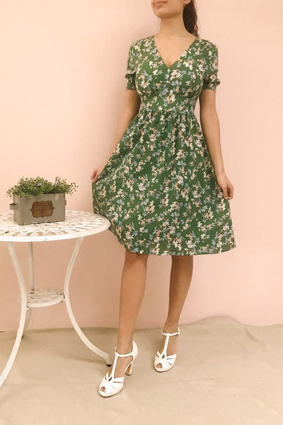 Frieda Green Floral Short Sleeve Midi Dress | Boutique 1861 model look