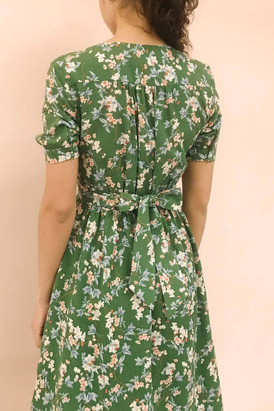 Frieda Green Floral Short Sleeve Midi Dress | Boutique 1861 model back 1