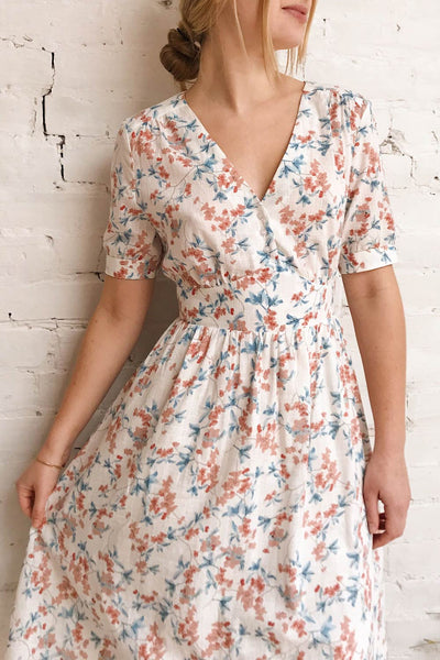 Frieda White Floral Short Sleeve Midi Dress | Boutique 1861 on model 1