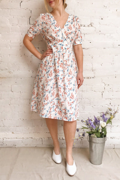 Frieda White Floral Short Sleeve Midi Dress | Boutique 1861 model look 1
